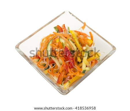 Colorful healthy vegetable salad. Isolated on a white background.  - stock photo