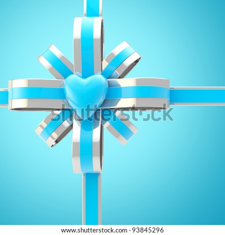 Colorful heart and blue, silver bow background