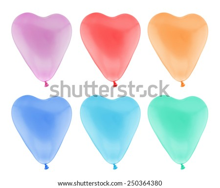 Colorful heart balloon isolated on white background with clipping path