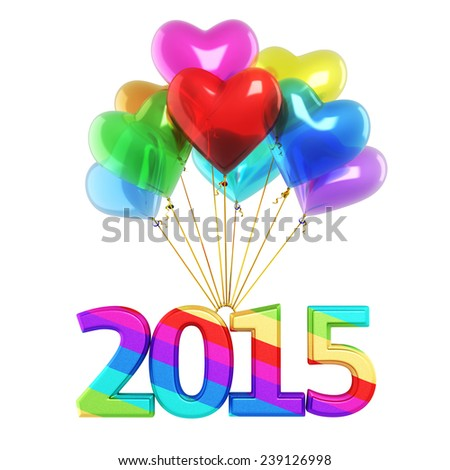 Colorful heart Balloons New Year 2015 (isolated on white and clipping path) - stock photo