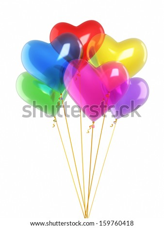 Colorful heart balloons render (isolated on white and clipping path)  - stock photo