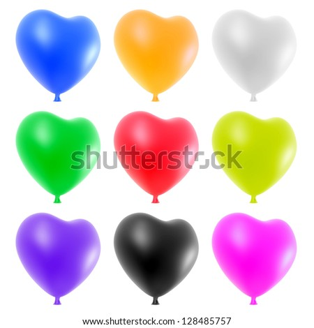 Colorful heart balloons set isolated on white background.