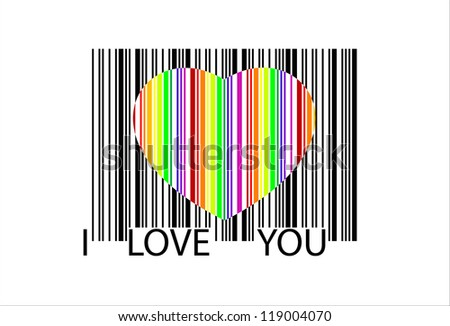 colorful heart bar code, perfect for sale, - stock photo