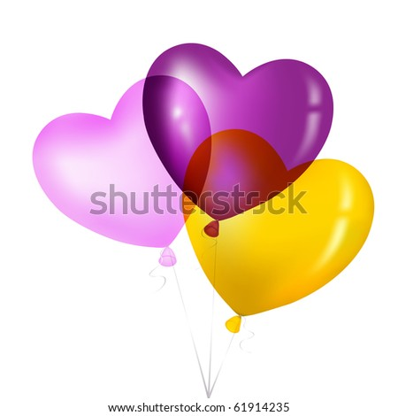 Colorful Heart Shape Balloons, Yellow, Pink And Magenta, Isolated on white.