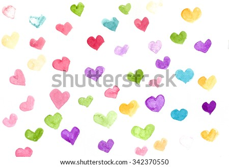 Colorful hearts background, watercolor painting background pattern - stock photo