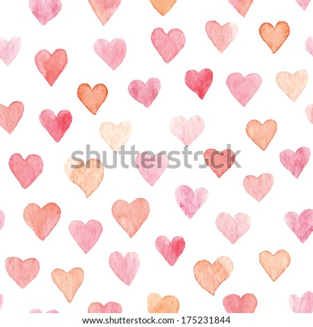 Colorful hearts seamless pattern painted with watercolor - stock photo