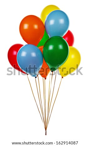 Colorful helium party balloons on white background