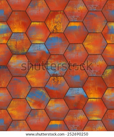 Colorful Hexagonal Tiled Seamless Texture - stock photo