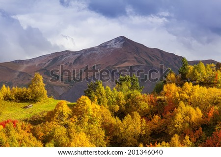 Colorful high mountains, in the autumn.