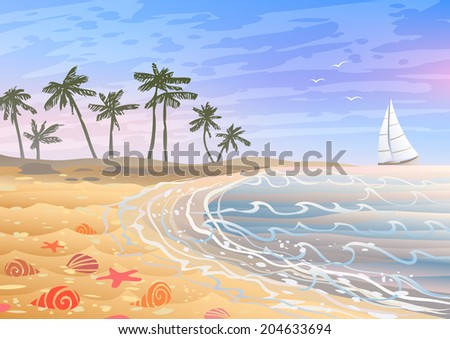 Colorful holiday on a beach with bright seashells, sand and palm trees  - stock photo