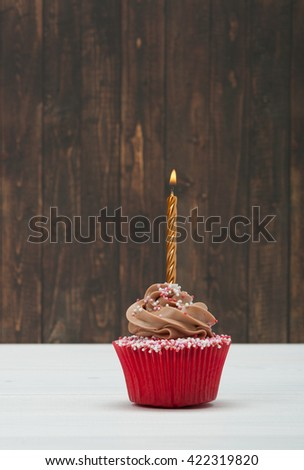 Colorful Homemade Birthday Cupcake With One Golden Burning Candle. Copy Space - stock photo