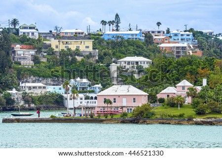 Colorful homes and hotels on this hillside in Hamilton, Bermuda. - stock photo