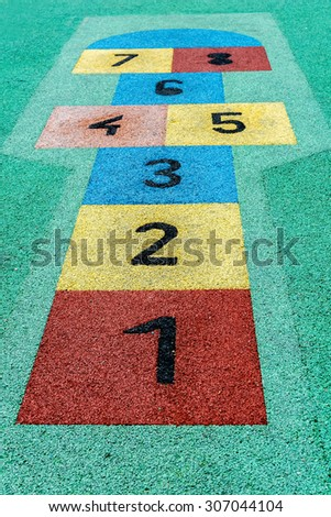 colorful hopscotch game - stock photo