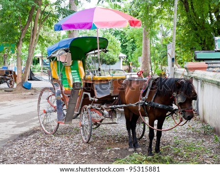 Colorful horse carriage in Chiang Mai Thailand