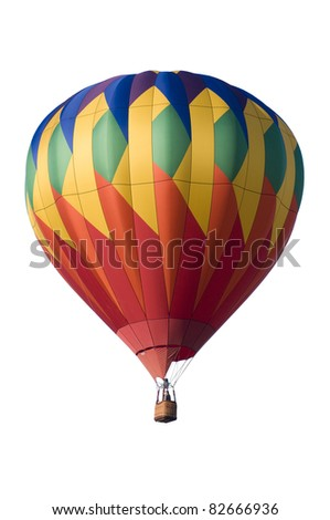 Colorful hot-air balloon floating against white background - stock photo