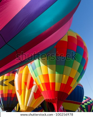 Colorful hot air balloon interior - stock photo