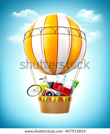 Colorful hot air balloon with passports, tickets, suitcase and bicycle inside a bascket. Unusual travel illustration. 3D illustration - stock photo