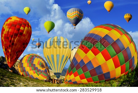 Colorful hot air balloons against blue sky at Cappadocia Turkey - stock photo