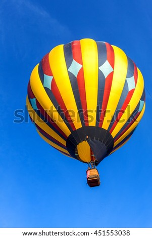 Colorful hot air balloons against blue sky in Sonoma County, California