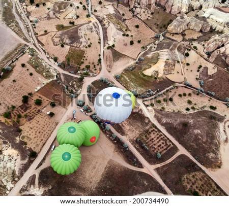 Colorful hot air balloons. Cappadocia, Turkey - stock photo