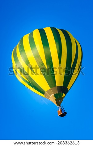 Colorful hot-air balloons flying