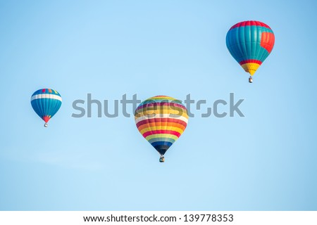Colorful hot air balloons on the blue sky