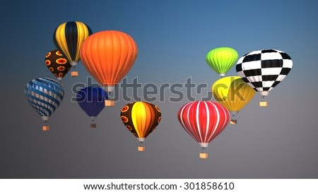 Colorful hot air balloons over blue sky, 3d illustration