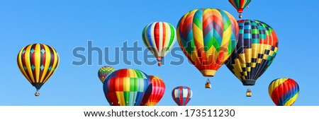 Colorful hot air balloons panorama - stock photo