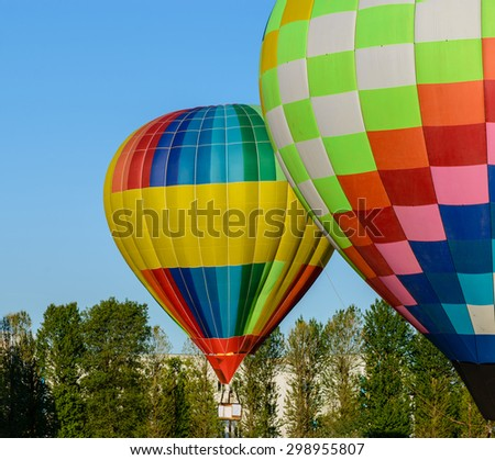 Colorful Hot Air Balloons prepare for flight