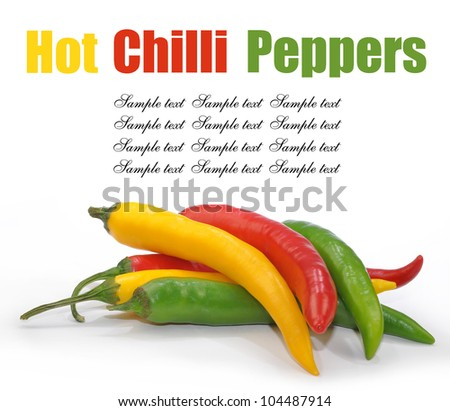 colorful hot chilli peppers isolated on white background - stock photo