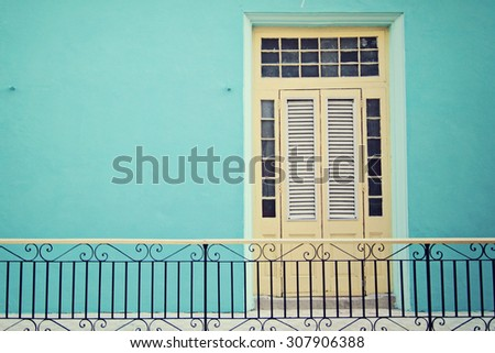 Colorful house in Havana, Cuba - stock photo