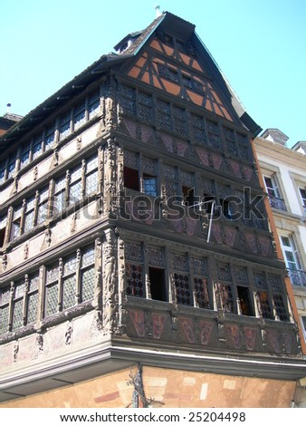 Colorful house in main plaza in historic center, Strasbourg, France - stock photo