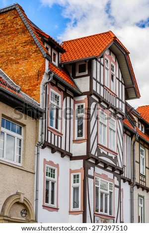 Colorful house in Wernigerode, a town in the district of Harz, Saxony-Anhalt, Germany