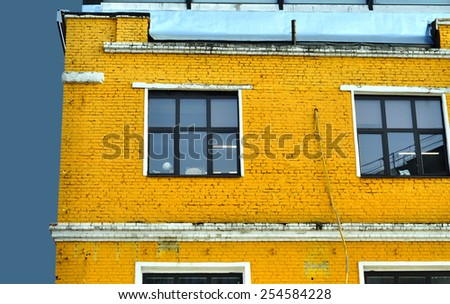 Colorful house with the big windows - stock photo