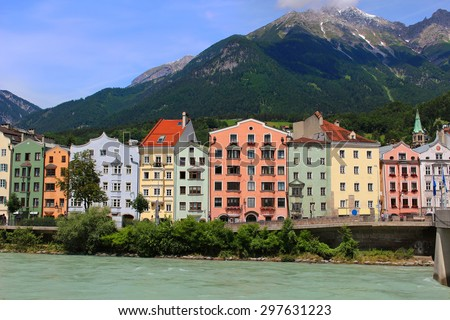 Colorful houses along the river in Innsbruck, Austria