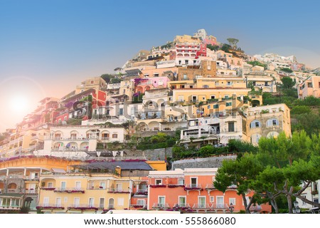 Colorful houses along the steep hillside in the village of Positano, Campania, Italy on the Amalfi Coast