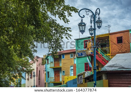 Colorful houses at Caminito street in La Boca, Buenos Aires, Argentina - stock photo