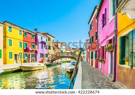 Colorful houses in Burano island near Venice, Italy - stock photo