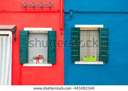 Colorful houses in Burano island near Venice, Italy - stock photo