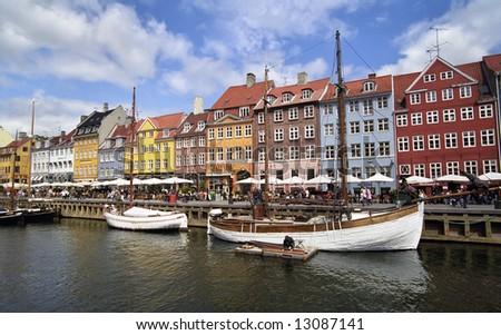 Colorful houses in Copenhagen, Nyhavn harbour - stock photo