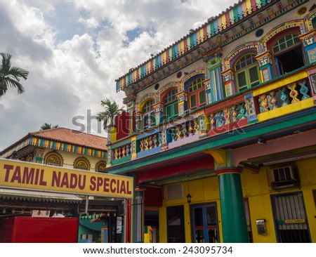 Colorful Houses in Little India, Singapore/Colorful Houses in Little India, Singapore/Colorful Houses in Little India, Singapore - stock photo