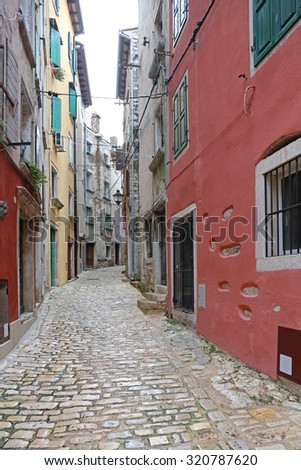 Colorful Houses in Narrow Street Downtown Rovinj Croatia