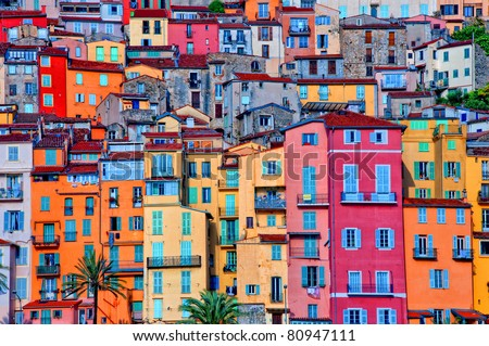 Colorful houses in Provence village of Menton - stock photo