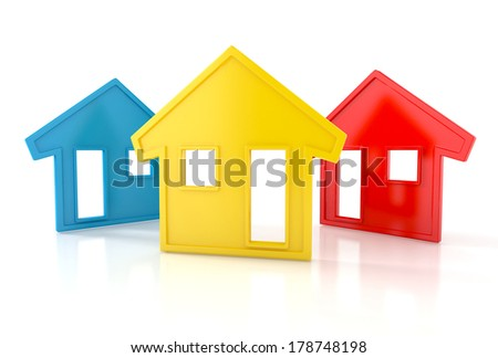 Colorful houses isolated on white background. 3d illustration - stock photo