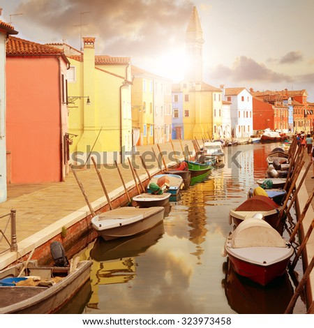Colorful houses of Burano island near Venice , Italy - stock photo