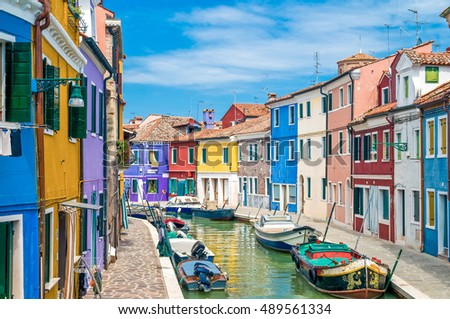 colorful houses of Burano, Venice in Italy