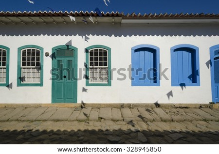 colorful houses of Paraty in Brazil - stock photo