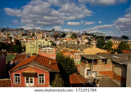 Colorful houses of Sultanahmet district, Istanbul, Turkey. City's hills near the channel of the Bosphorus - stock photo