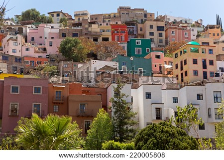colorful houses on a hill in the city of Guanajuato,Mexico - stock photo