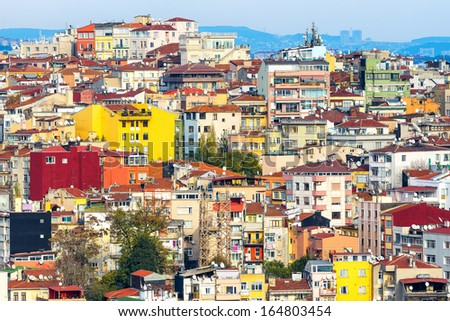 Colorful houses on a hillside in Istanbul, Turkey - stock photo